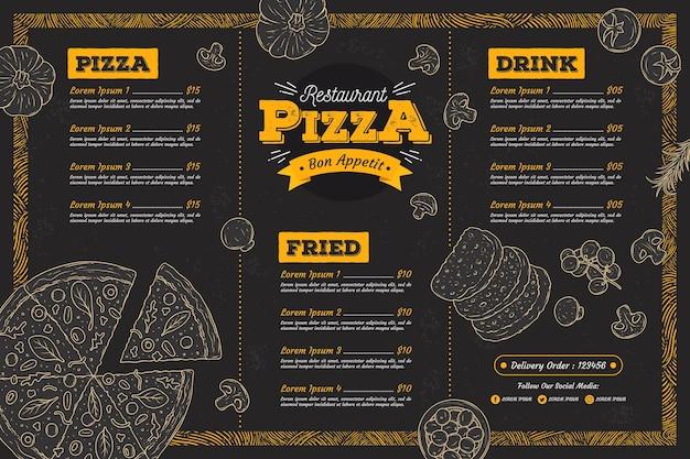 Szablon Menu Restauracji Pizzy Darmowych Wektorów