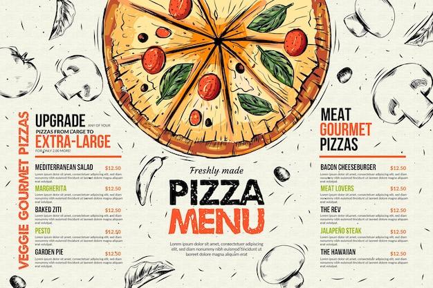 Szablon menu restauracji pizzy