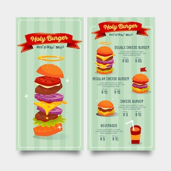 Szablon menu restauracji płaski dla fast foodów i napojów hamburger
