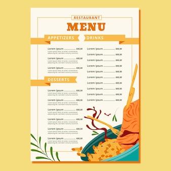 Szablon menu restauracji pyszne jedzenie