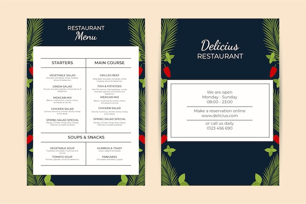 Szablon menu restauracji retro zdrowej żywności