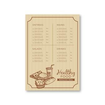 Szablon menu restauracji retro ze zdrową żywnością