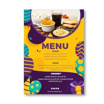 Szablon menu restauracji urodziny dla dzieci