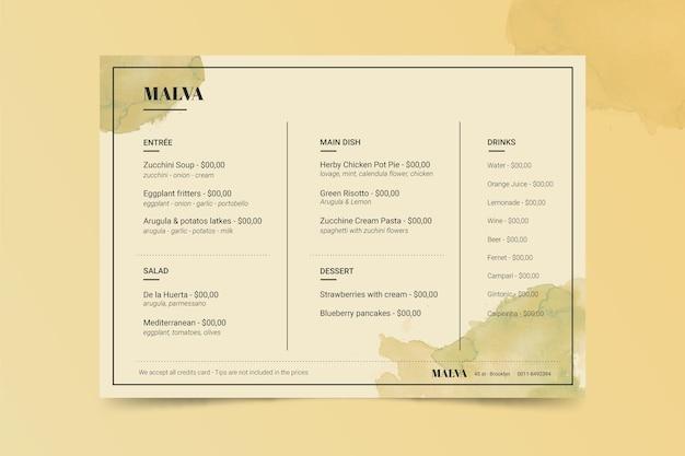 Szablon menu restauracji vintage zdrowej żywności