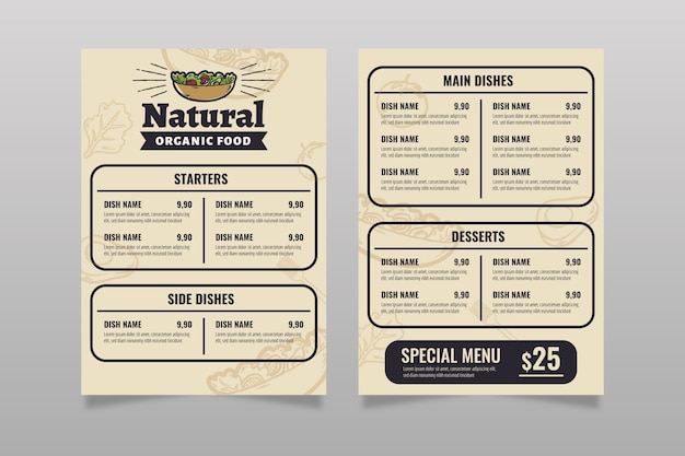 Szablon menu restauracji vintage