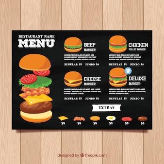 Szablon menu restauracji w stylu tablica