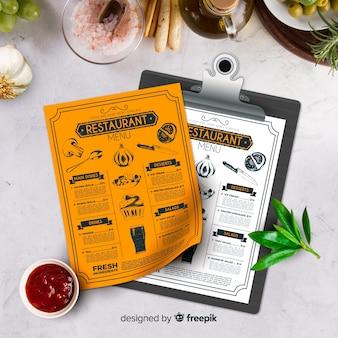 Szablon menu restauracji w stylu vintage