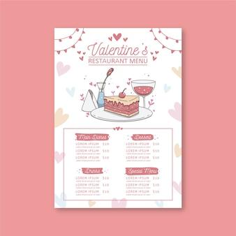 Szablon menu restauracji walentynki