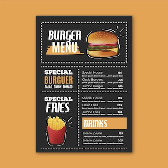 Szablon menu restauracji z burger