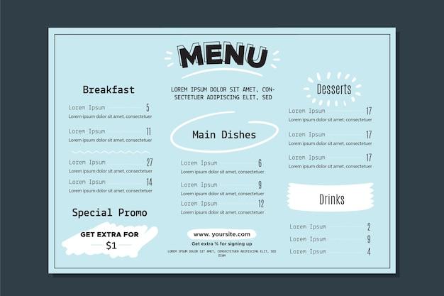 Szablon menu restauracji z kolorowy styl
