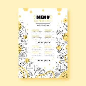 Szablon menu restauracji z narysowanymi elementami