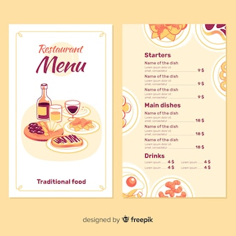Szablon menu restauracji z ręcznie rysowane elementy