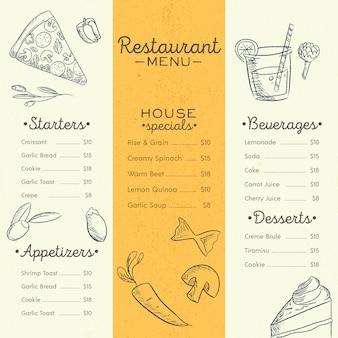 Szablon menu restauracji z różnymi potrawami