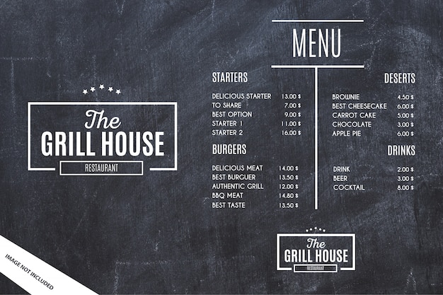 Szablon menu restauracji z tło grunge