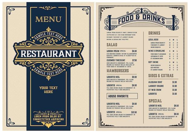 Szablon menu restauracji. zabytkowy styl.