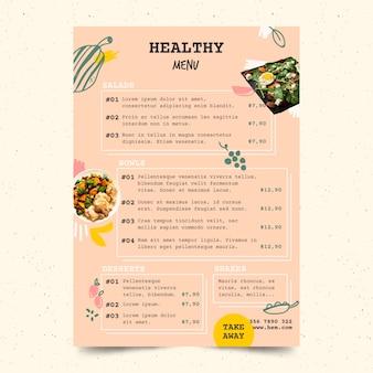 Szablon menu restauracji zdrowe jedzenie