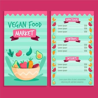 Szablon menu restauracji zdrowej żywności