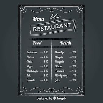 Szablon menu restauracji ze stylu tablicy