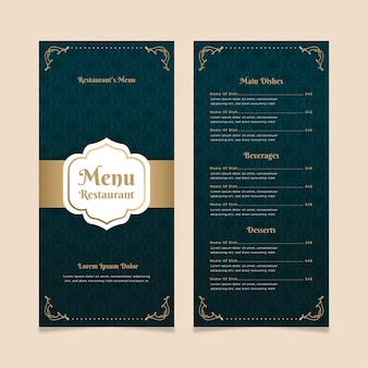 Szablon menu restauracji złoty z niebieskim