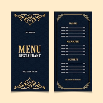 Szablon menu restauracji złoty