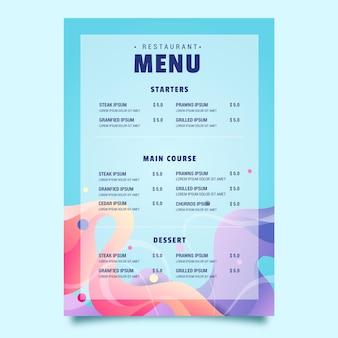 Szablon menu restauracji żywności