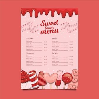Szablon menu słodki kochanek