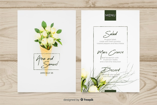 Szablon menu ślubu ze zdjęciem