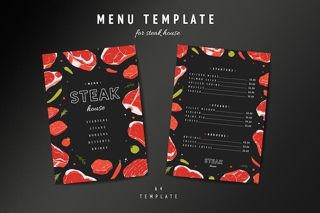 Szablon menu steakhouse z ilustracjami mięsa