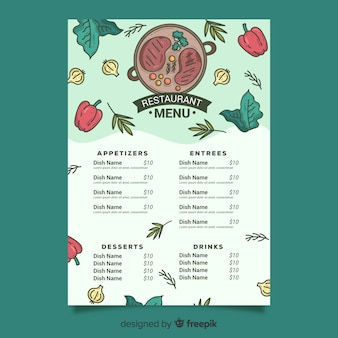 Szablon menu steków i warzyw