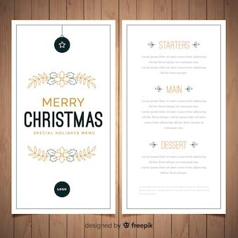 Szablon menu świąteczne ozdoby płaskie