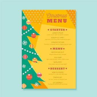 Szablon menu świąteczne płaska konstrukcja