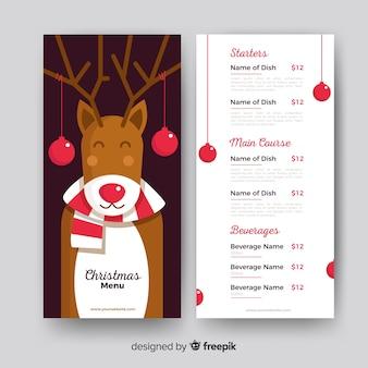 Szablon menu świąteczne renifer