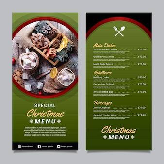 Szablon menu świąteczne w płaska konstrukcja