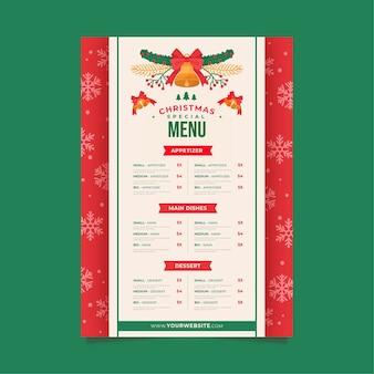 Szablon menu świąteczne w płaskiej konstrukcji