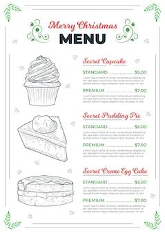 Szablon menu świąteczne z narysowanymi elementami