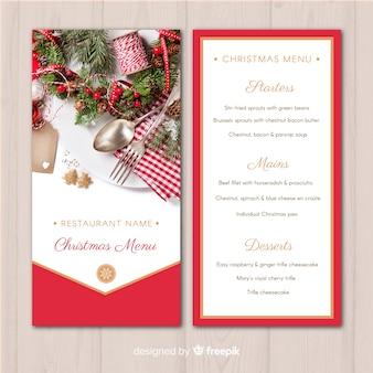 Szablon menu świątecznej złotej linii