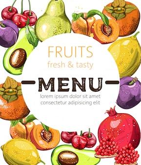Szablon menu świeże i smaczne owoce z miejscem na tekst