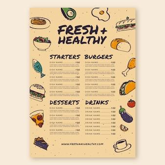 Szablon menu świeżej i zdrowej żywności
