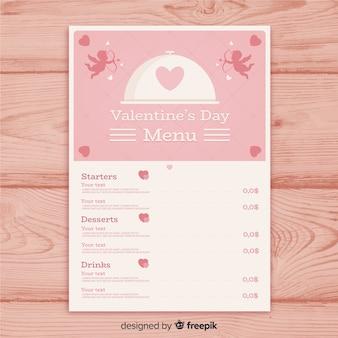 Szablon menu sylwetka valentine amorek