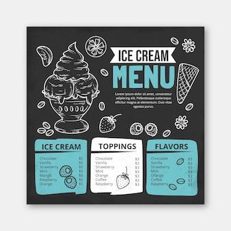 Szablon menu tablica lody