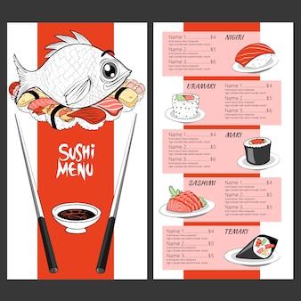 Szablon menu tradycyjnego japońskiego sushi