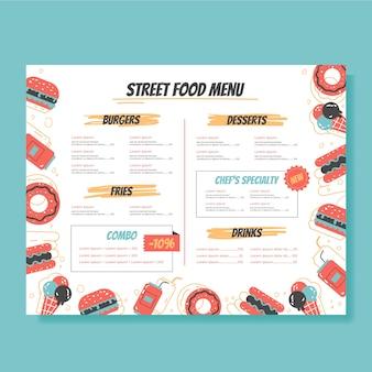 Szablon menu ulicznego jedzenia