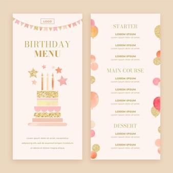 Szablon menu urodzinowego akwarela