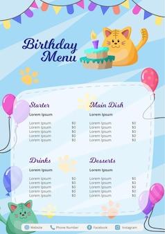 Szablon menu urodzinowego dla dzieci z uroczym wzorem