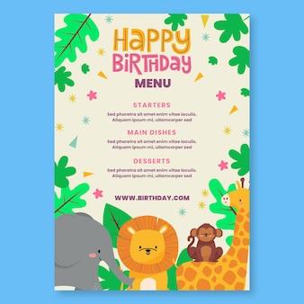 Szablon menu urodzinowego dla dzieci