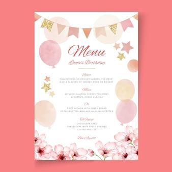 Szablon menu urodzinowego