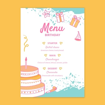Szablon menu urodziny dla dzieci