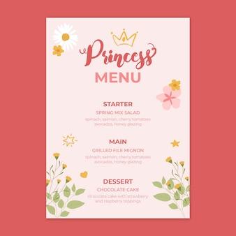 Szablon menu urodziny księżniczki dla dzieci
