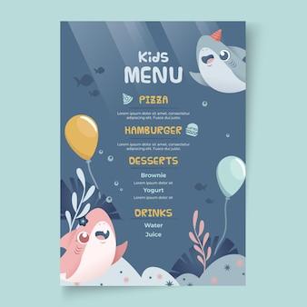 Szablon menu urodziny rekina dla dzieci