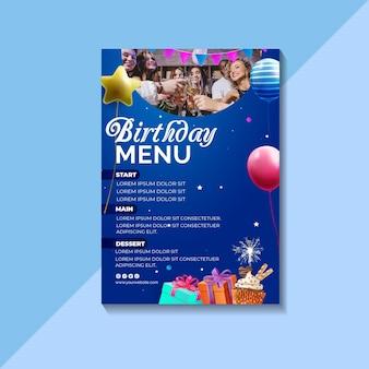 Szablon menu urodziny